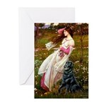 Windflowers / Flat Coated Ret Greeting Cards (Pk o