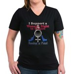 Woman's Choice pro-gun Women's V-Neck Dark T-Shirt