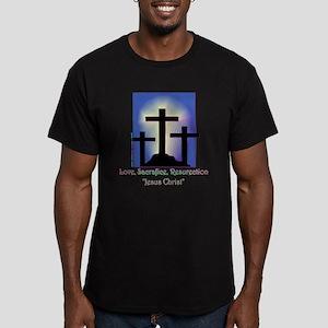 3 Crosses Men's Fitted T-Shirt (dark)