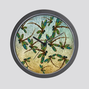 Golden Dragonfly Light Wall Clock
