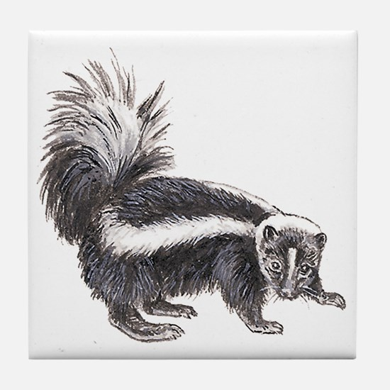 Striped Skunk Tile Coaster