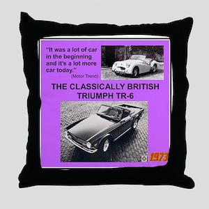 """""""1973 Triumph TR6 Ad"""" Throw Pillow"""