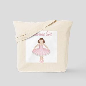 Brunette Ballerina Girl Tote Bag