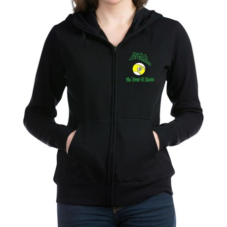 The Power of Cheese Women's Billiard Black Zip Hoodie Jacket