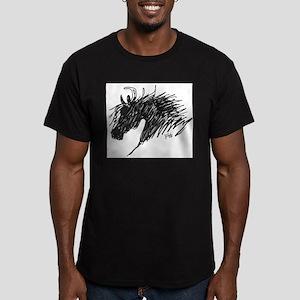 Horse Head Art Men's Fitted T-Shirt (dark)