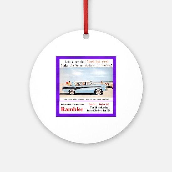 """""""1956 Rambler Ad"""" Ornament (Round)"""