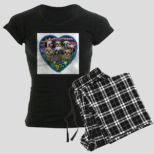 Shih Tzus in Heart Garden Pajamas
