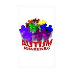 Autism Puzzle Jump Rectangle Sticker 50 pk)