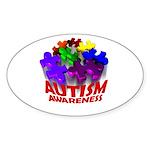 Autism Puzzle Jump Oval Sticker (50 pk)