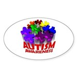 Autism Puzzle Jump Oval Sticker (10 pk)