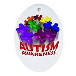 Autism Puzzle Jump Oval Ornament