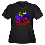 Autism Puzzle Jump Women's Plus Size V-Neck Dark T