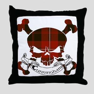 Cunningham Tartan Skull Throw Pillow