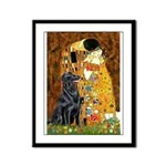 Kiss / Flat Coated Retriever Framed Panel Print