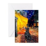 Cafe / Flat Coated Retriever Greeting Cards (Pk of