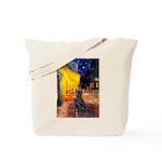 Cafe / Flat Coated Retriever Tote Bag
