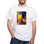Cafe / Flat Coated Retriever White T-Shirt