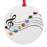 Emoji Animal Music Staff Round Ornament