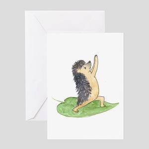 Yoga Hedgehog Warrior Leaf Greeting Card