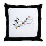 Emoji Animal Music Staff Throw Pillow