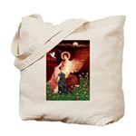 Angel / Flat Coated Retriever Tote Bag