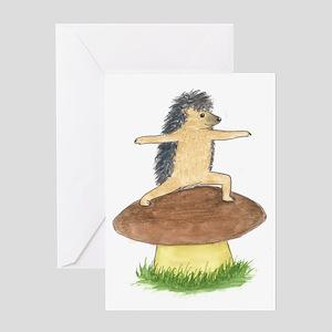 Yoga Hedgehog Warrior Mushroom Greeting Card