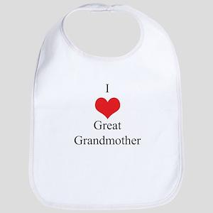 I Love (Heart) Great Grandmother Bib
