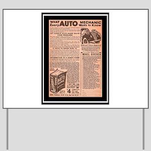 """""""Auto Guide-Circa 1960"""" Yard Sign"""