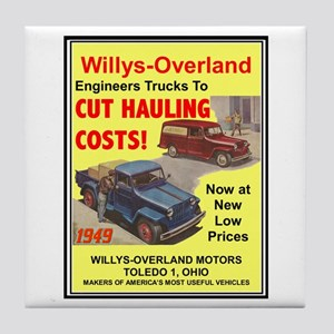 """1949 Willys Ad"" Tile Coaster"