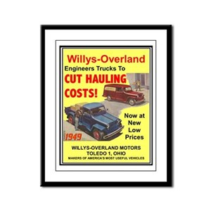 """""""1949 Willys Ad"""" Framed Panel Print"""
