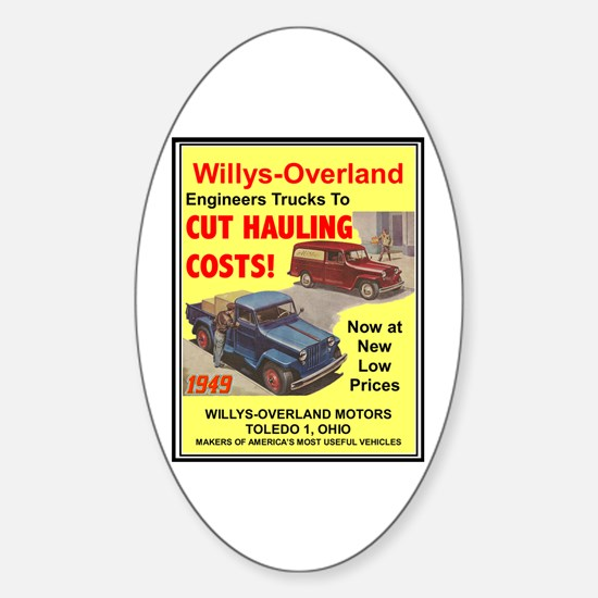 """1949 Willys Ad"" Oval Decal"