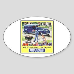 """1946 Dodge Truck Ad"" Oval Sticker"