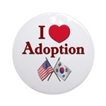 I Love Adoption (Korea/USA) Ornament (Round)