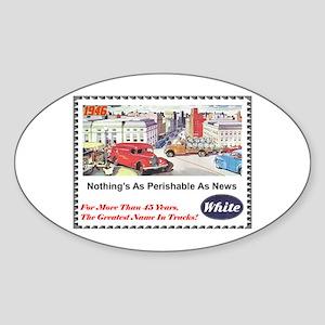 """""""1946 White Trucks Ad"""" Oval Sticker"""