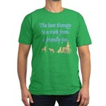 Best Therapy Is A Visit Men's Fitted T-Shirt (dark