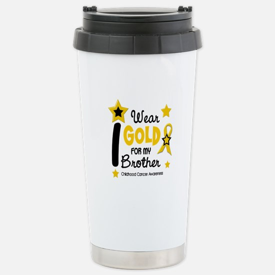 I Wear Gold 12 Brother CHILD CANCER Stainless Stee