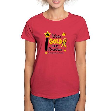 I Wear Gold 12 Brother CHILD CANCER Women's Dark T