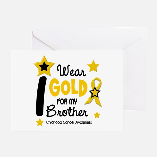 I Wear Gold 12 Brother CHILD CANCER Greeting Cards