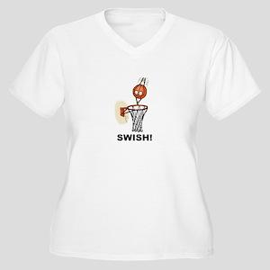 SWISH BASKETBALL DESIGN Women's Plus Size V-Neck T
