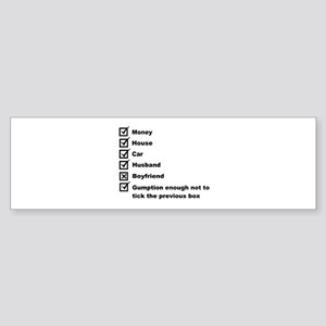 Woman's Check List To A Happy Life Bumper Sticker