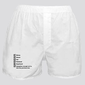 Woman's Check List To A Happy Life Boxer Shorts