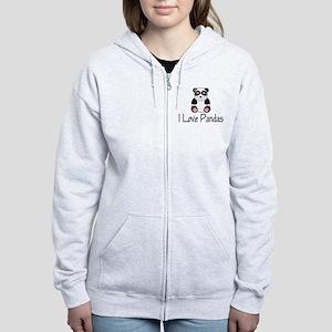 I Love Pandas Women's Zip Hoodie