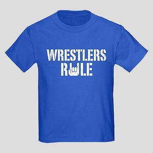 Wrestlers Rule Kids Dark T-Shirt