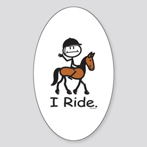 English Horse Riding Oval Sticker