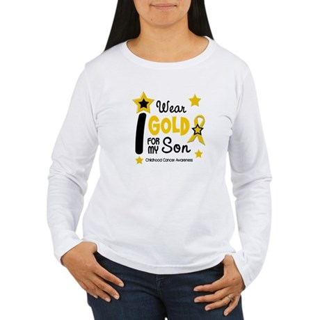 I Wear Gold 12 Son CHILD CANCER Women's Long Sleev