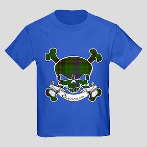 Davidson Tartan Skull Kids Dark T-Shirt