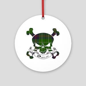 Duncan Tartan Skull Ornament (Round)