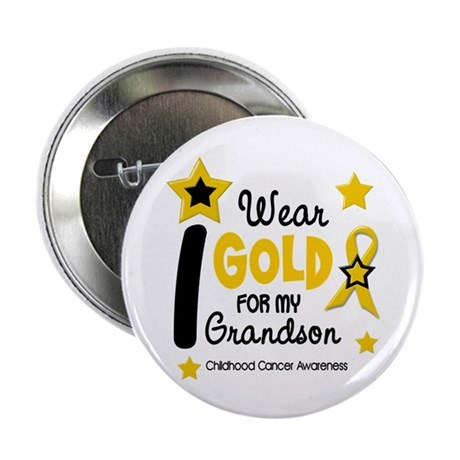 "I Wear Gold 12 Grandson CHILD CANCER 2.25"" Button"