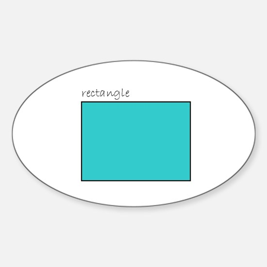 turquoise rectangle Oval Decal