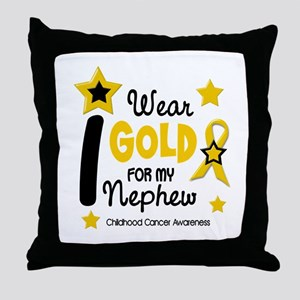 I Wear Gold 12 Nephew CHILD CANCER Throw Pillow